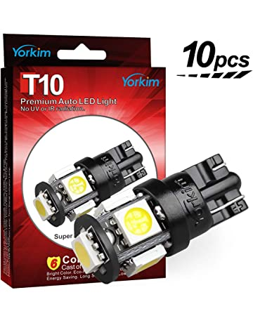 Yorkim 194 LED Bulbs Xenon White 6000k Super Bright Newest 5th Generation, T10 LED Bulbs