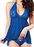 PERFECT LOVE Donna Sexy Lingerie Set con Collo a V Babydoll Seta Sleepwear