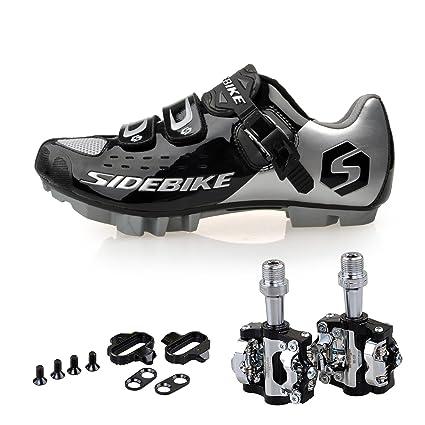 67c85fdba59a2f Amazon.com: KUKOME Men Women Mountain Bike Cycling Shoes and Pedals ...