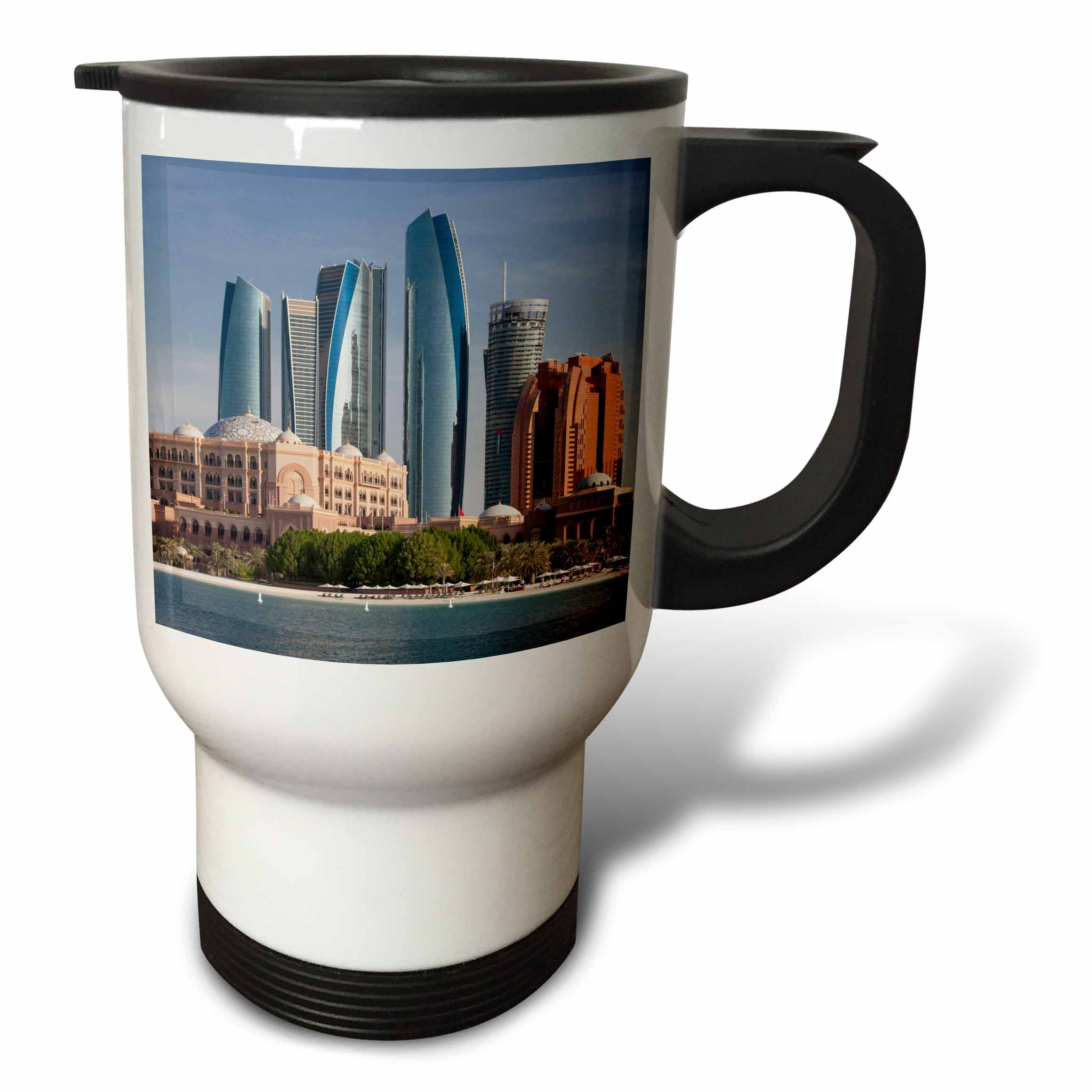 3dRose Danita Delimont - Cities - UAE, Abu Dhabi. Etihad Towers and Emirates Palace Hotel - 14oz Stainless Steel Travel Mug (tm_277131_1)