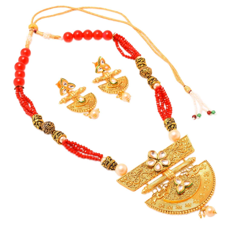 Jewar Mandi Necklace Set Kundan Pearl Polki Ad Cz Multi-Gemstones Jewelry for Women /& Girls 8128