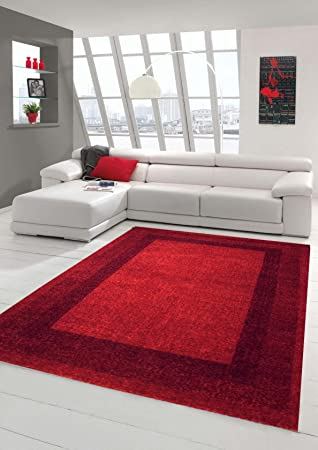 Designer Rug Contemporary Living Room Carpet Pile Low With Winchester Border In Red