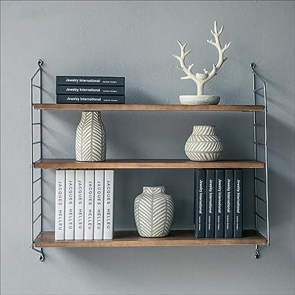 Bookshelf Wall Wrought Iron Wood Retro Bookcase Waffle Dividers Adjustable Height