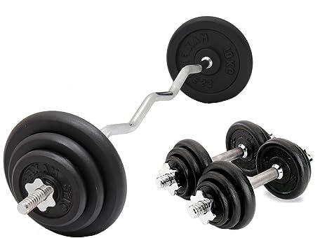Barra curvada EZ & Pesa de gimnasia Set Hierro Fundido Juego Pesas 25kg Levantamiento De Pesas
