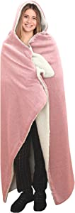 "Posh Home Hooded Jersey Knit Reversible Sherpa Throw Blanket, 50"" x 60"" (Cotton Blend Blush)"