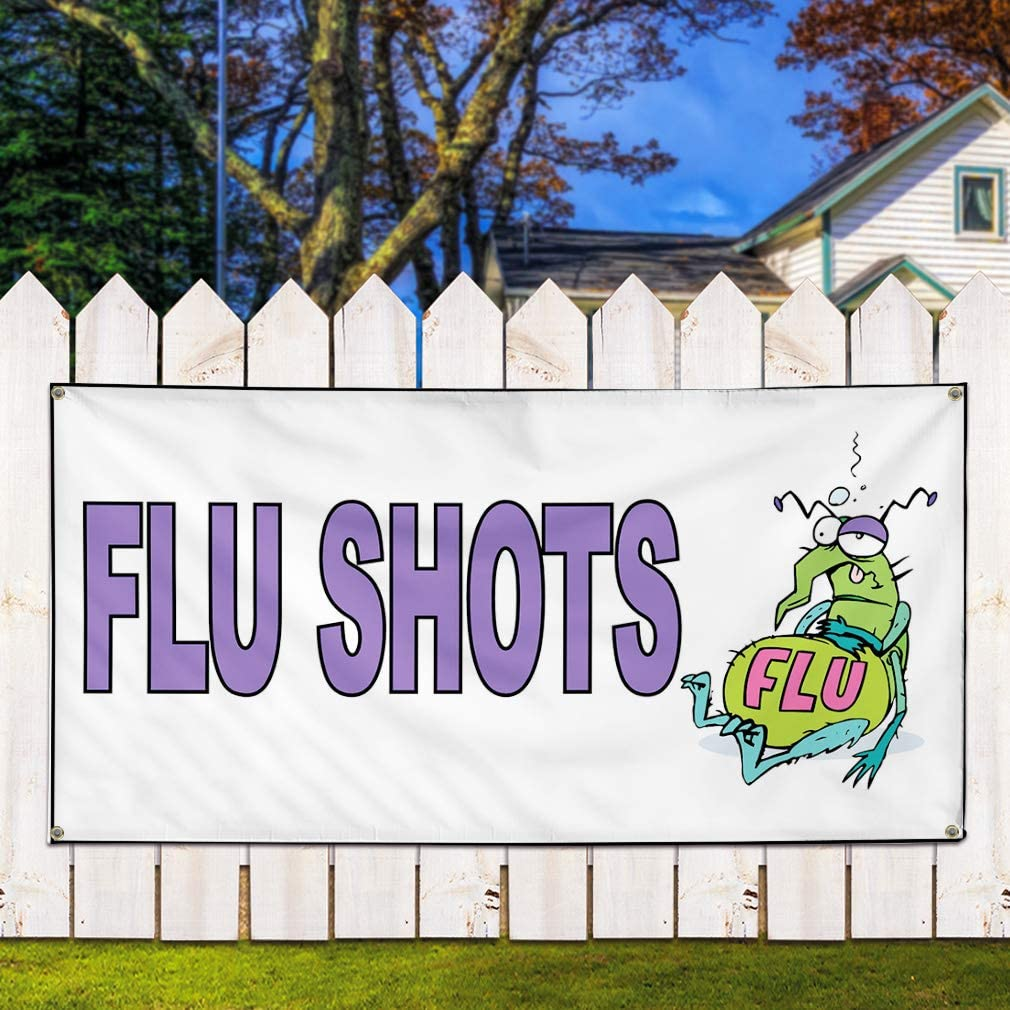 Set of 2 Vinyl Banner Sign Flu Shots White Purple Health Care Outdoor Marketing Advertising White Multiple Sizes Available 36inx90in 6 Grommets
