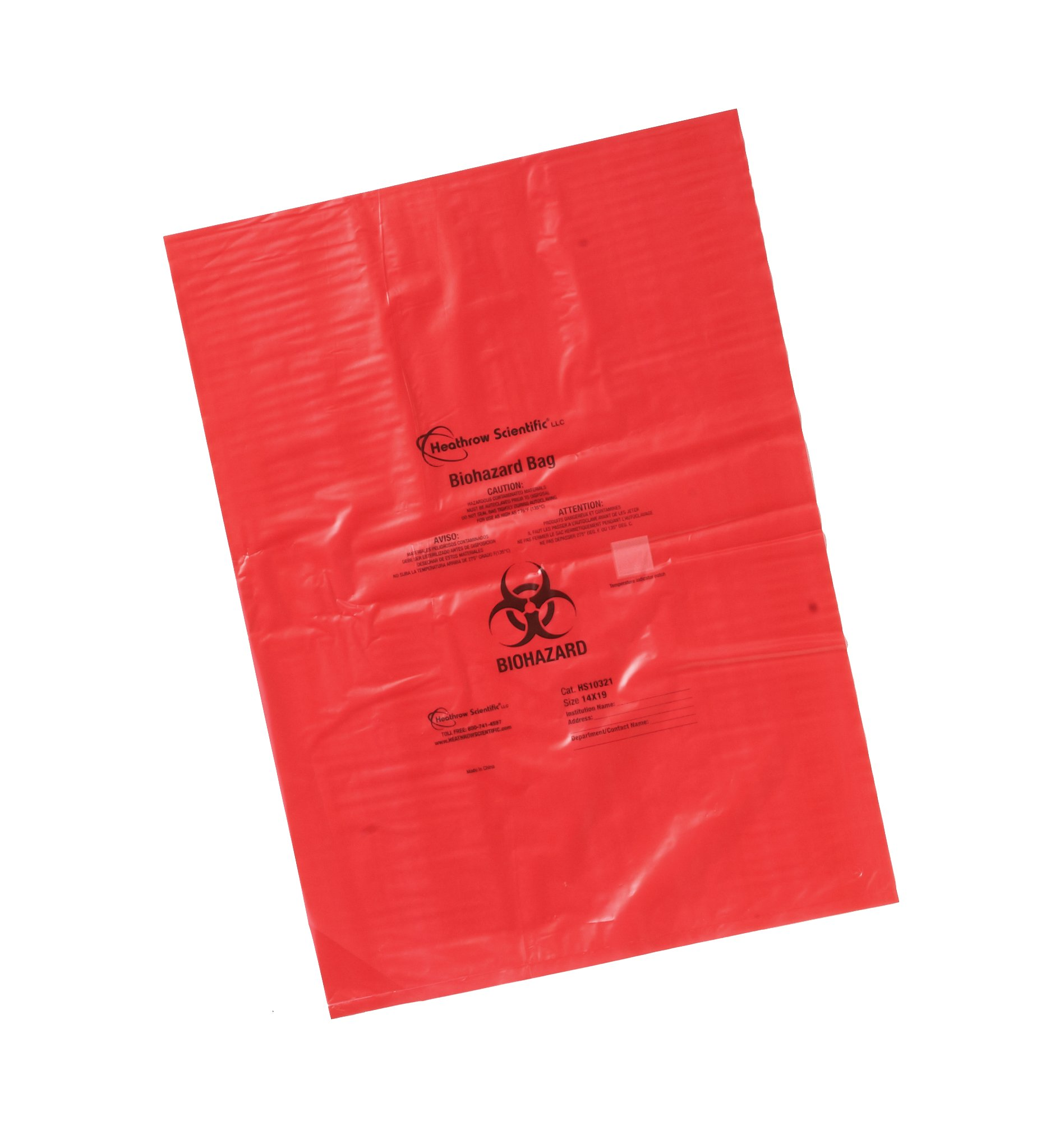 Heathrow Scientific HS10320 Biohazard Disposable Bag, 8'' x 12'', Red
