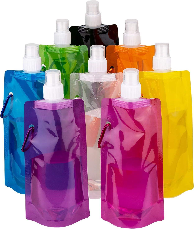 LUTER Plegable Botella de Agua Reutilizable Plegable portátil Bolsa de Agua para Deportes al Aire Libre Senderismo para Montar, 8 Colores, 8 Paquetes