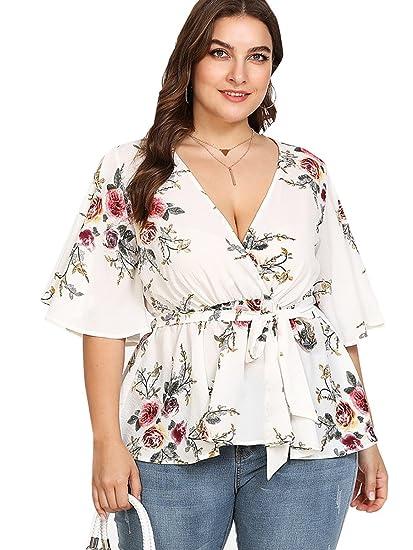 841d06c32f Romwe Women's Plus Size Floral Print Short/Long Sleeve Belt Tie Peplum Wrap  Blouse Top Shirts
