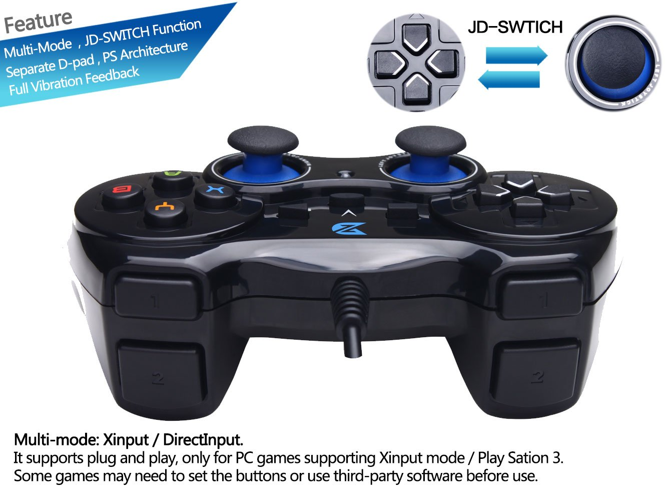 ZD-V+ USB Wired Gaming Controller Gamepad For PC/Laptop
