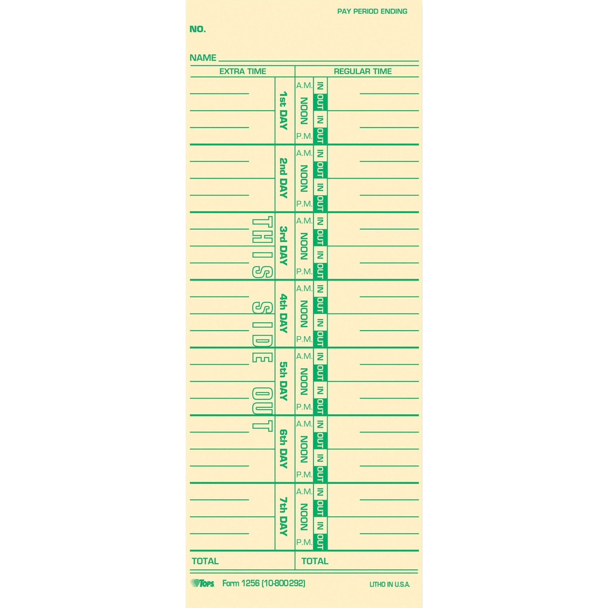 TOPS Time Cards, Weekly, 1-Sided, Numbered Days, 3-1/2'' x 9'', Manila, Green Print, 100-Count (12563)