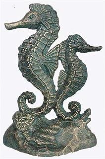 Verdigris Cast Iron Door Stop Green Seahorses