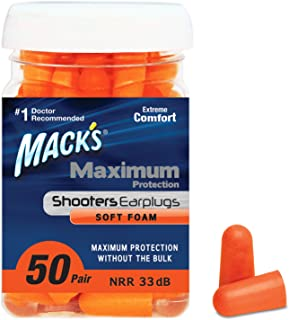 product image for Mack's Maximum Protection Soft Foam Shooting Ear Plugs, 33 dB Highest NRR – Comfortable Earplugs for Hunting, Tactical, Target, Skeet and Trap Shooting