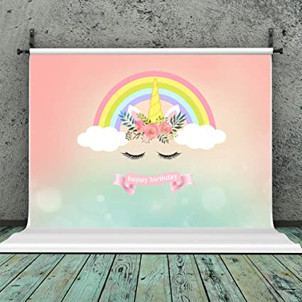 Unicorn Birthday Party Backdrop Rainbow Photography Background Studio Props 7x5ft Vinyl Baby Shower Cake Table Banner