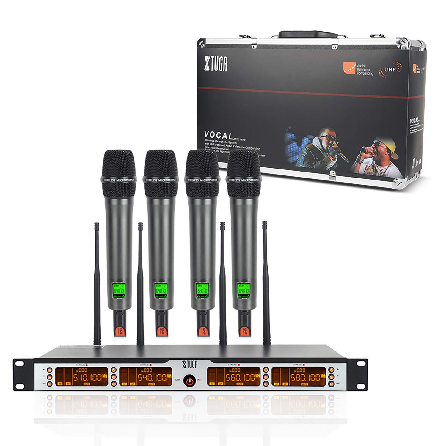 XTUGA SKM4000PLUS 4 x100 Channel UHF Wireless Handheld Microphone System with Selectable Frequencies Prevent Interference, Use for Family Party, Church, Small Karaoke Night (Range:200-320Ft) by XTUGA