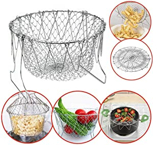 Fryer Basket,Stainless Steel Foldable Rinse Strain Fry Basket Multifunction Folding Basket Telescopic Fried Filter Drainage Rack Strainer Net (Silver)