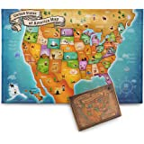 AGREATLIFE US Floor Map Puzzle - Best USA Puzzle Map for Kids and Adults - A New Map of Wonders with Easy-Clean Surface - Promotes Hand-Eye Coordination and Problem Solving Skills