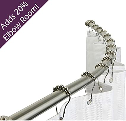 Brushed Nickel Curved Shower Curtain Rod / NO SAWING REQUIRED!
