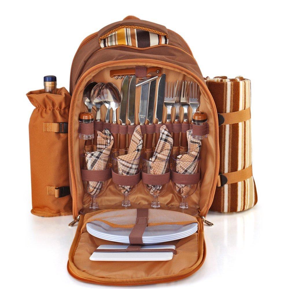 Picknick Rucksack Set für 4 Personen mit Kühlerfach, abnehmbare Flasche / Weinhalter, Fleece Decke, Teller und Besteck Besteck Set - Braun