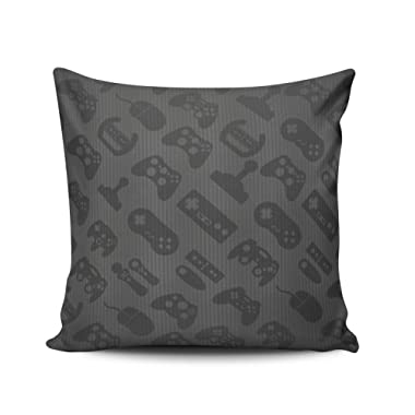 SALLEING Custom Fashion Home Decor Pillowcase Black Gamer Pattern Euro Square Throw Pillow Cover Cushion Case 26x26 Inches One Sided Print