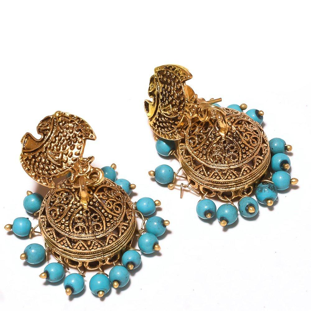 Gift Jewelry Blue Plan Beads Brass Metal 21 Grams Jhumka//Earring 2 Handmade Indian Jewelry