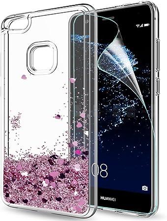 LeYi Custodia Huawei P10 Lite Glitter Cover con HD Pellicola,Brillantini Trasparente Silicone Gel Liquido Sabbie Mobili Bumper TPU Case per Huawei P10 ...
