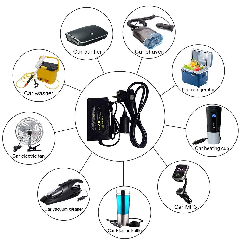 Alimentation /Électronique AC//DC Adaptateur 220V /à 12V Prise d/'Allume-cigare de Voiture 12V DC /Électricit/é Transformateur Convertisseur par sweetlife