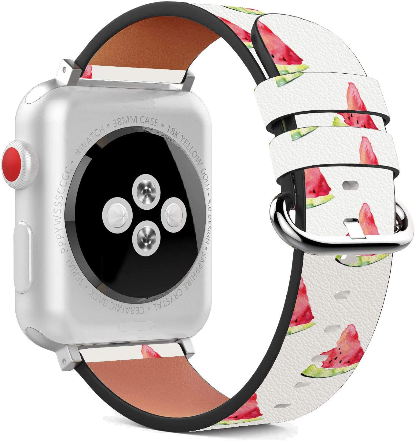 Compatible with Apple Watch - 38mm / 40mm (Serie 5,4,3,2,1) Leather Wristband Bracelet with Stainless Steel Clasp and Adapters - Watermelon Slice Fresh
