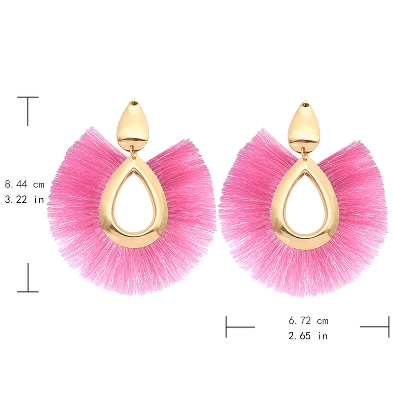 I.FASHION.U Zinc Alloy Hoop Earring with Metalic Fringe Earrings