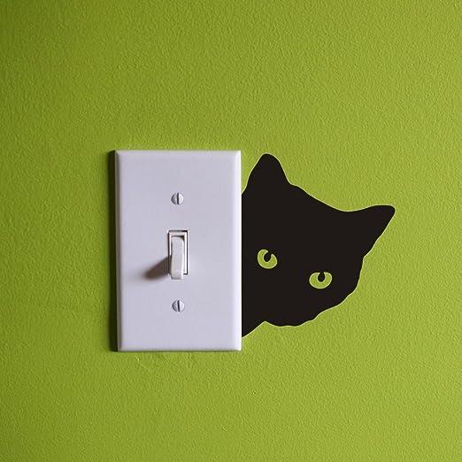 Gato Pared Adhesivo Decoración Interruptor de la luz del ratón Calcomanías Casa Arte Vinilo