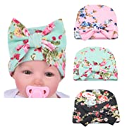 Xinshi Newborn Hat Soft Turban Baby Girl Big Bow Knot Cap (HC01 (3PCS))