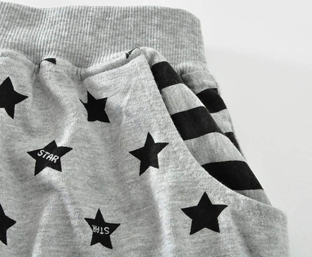 Zerototens Baby Boys Pants,2-6 Years Old Kids Tracksuit Bottoms Boys Girls Printed Clothes Striped Star Elastic Harem Pants Child Stretchy Leggings Trousers Toddler Cotton Pants
