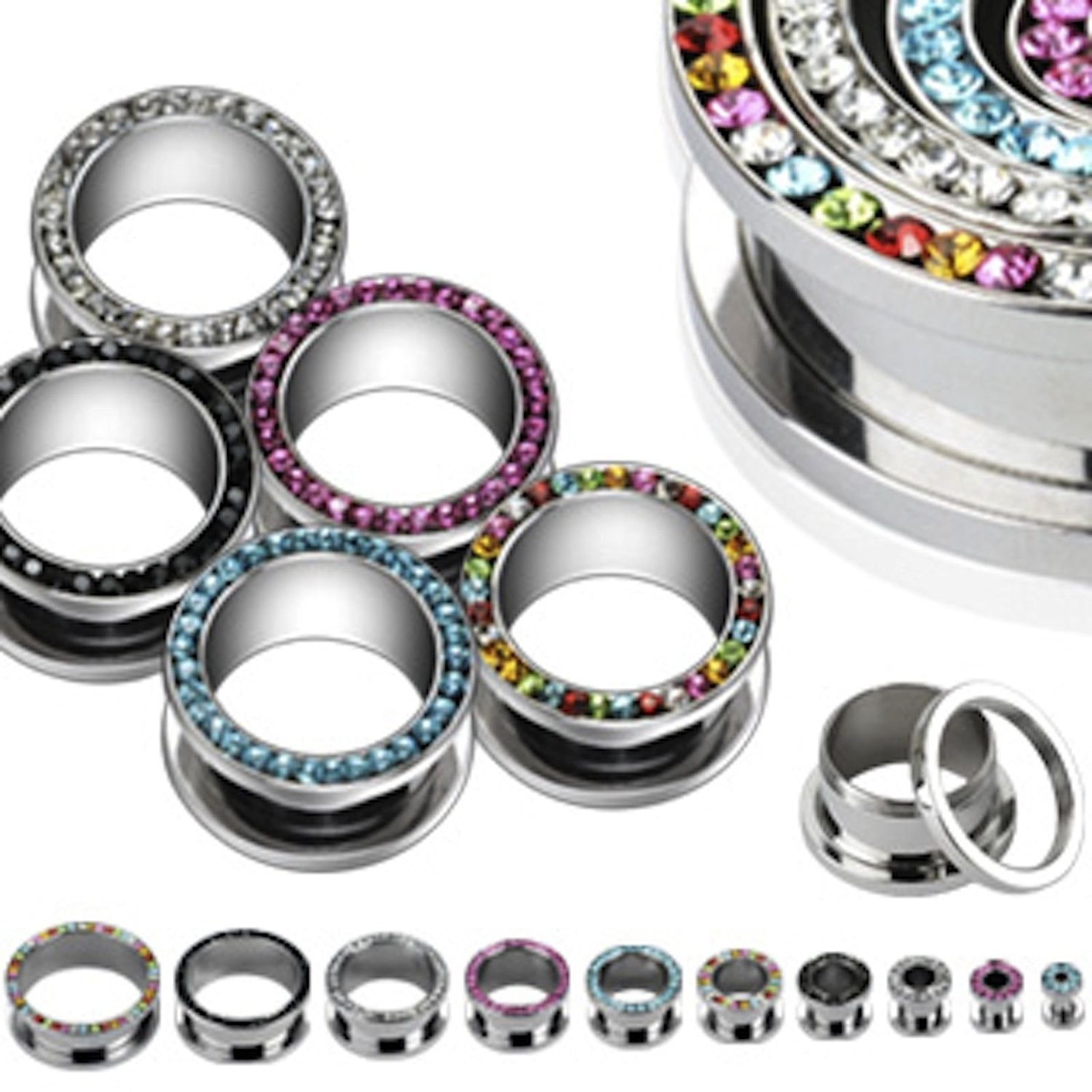 Inspiration Dezigns Multi-Gemmed Rim Up to 2'' 316L Surgical Steel Screw Fit Hollow Tunnels - Sold as Pairs (3/4'' Black)