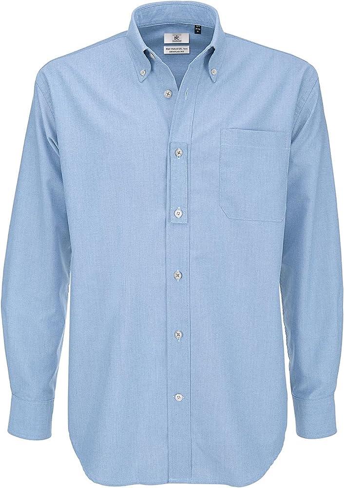 B&C - Camisa clásica de manga larga para hombre Blau - Oxford-blau L: Amazon.es: Ropa y accesorios