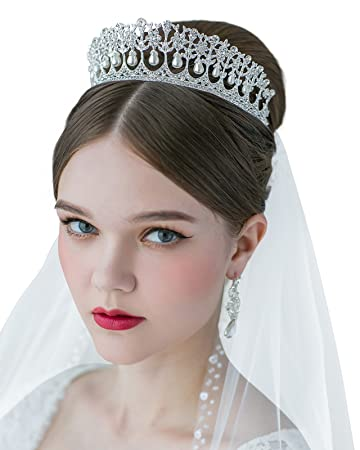 SWEETV Royal Pearl Tiara Vintage Rhinestone Crown Bridal Jewelry Wedding Hair Accessories, Silver