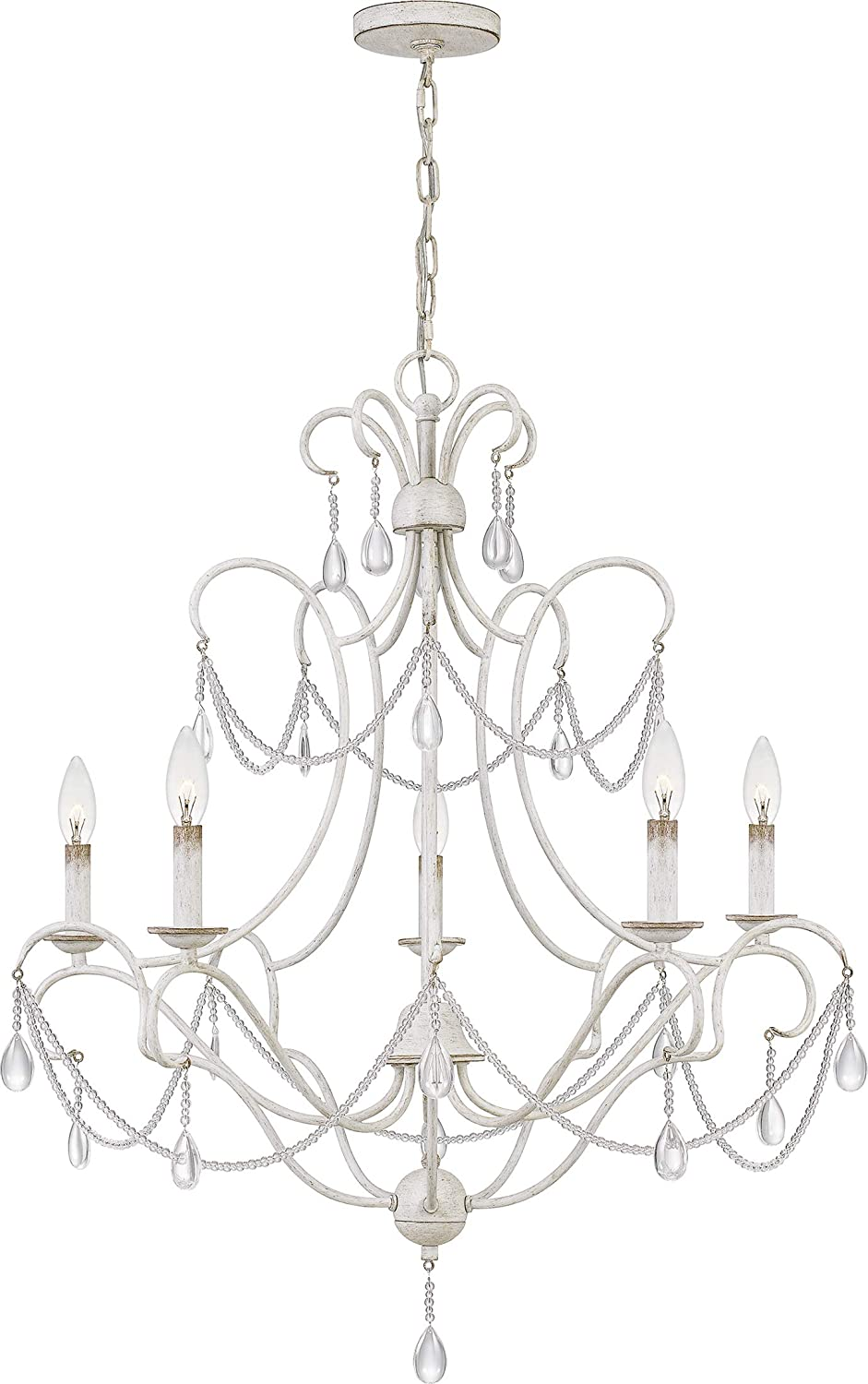 Quoizel BRA5029AWH Bray Crystal Beads Chandelier, 5-Light 300 Watts, Antique White