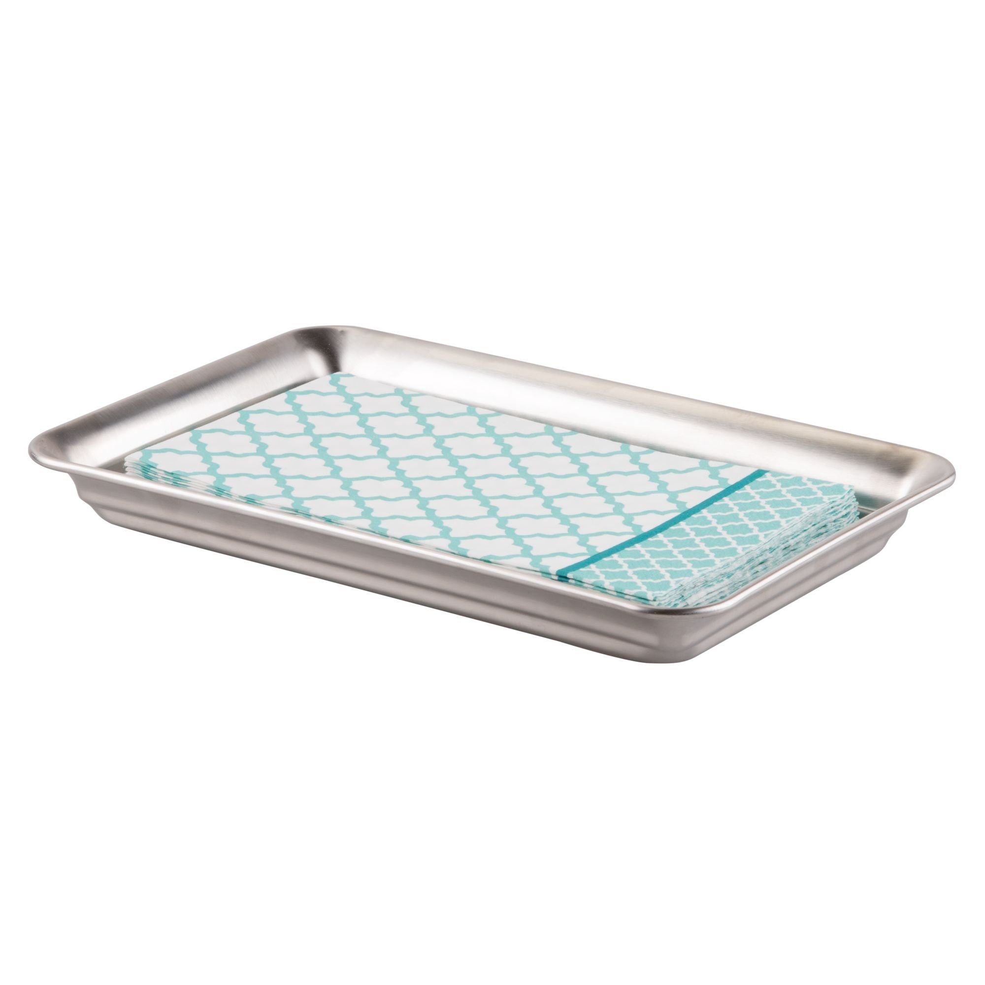 InterDesign Countertop Guest Towel Tray - Bathroom Vanity Organizer, Brushed