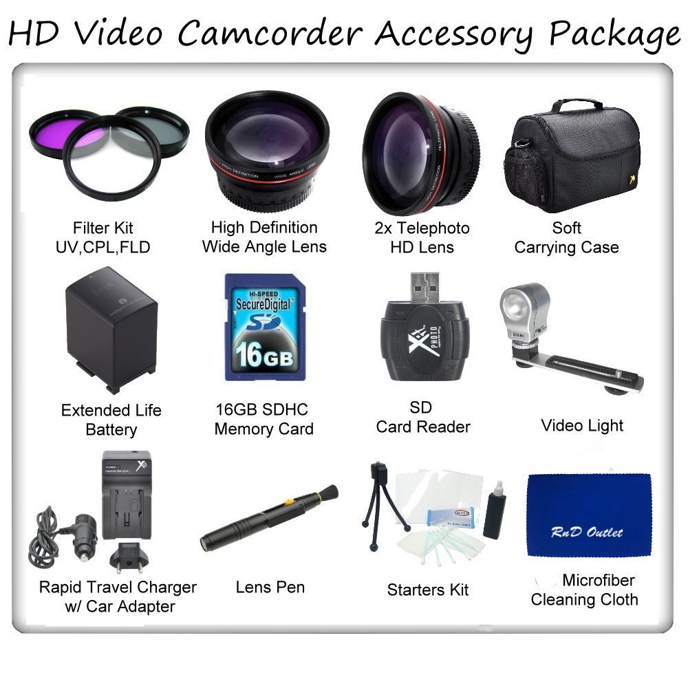 Ultimate HD Video Accessory Package For The Panasonic AG-AC90 Camcorder. Includes 3 Piece Filter Kit, Wide Angle Lens, T by RnD Outlet