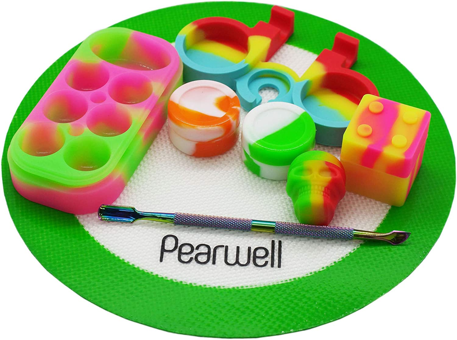 Pearwell Food Grade Silicone Wax Jar Mat Kit (Set of 8), 1 Green Round Mat + 1 Carving Tool + 1 Silicone Holder for 5ml + 5 Non-stick Silicone Containers 3ml 5ml 9ml 34ml (Green)