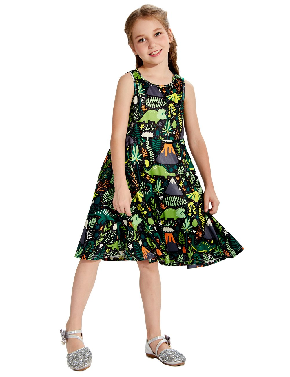 Uideazone Girls Sleeveless Dinosaur Casual Floral Princess Dress for 6-7 Years