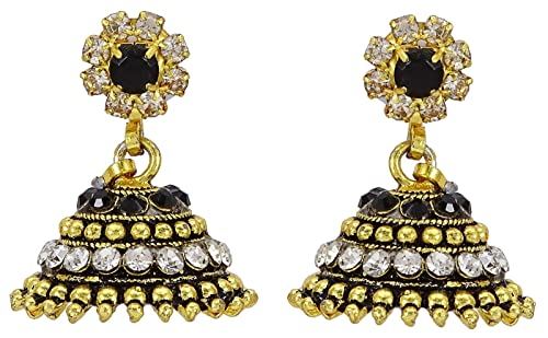 Traditional Indian Wedding Goldtone Cz Stone Jhumka Earring Set Women Jewellery Jewelry & Watches