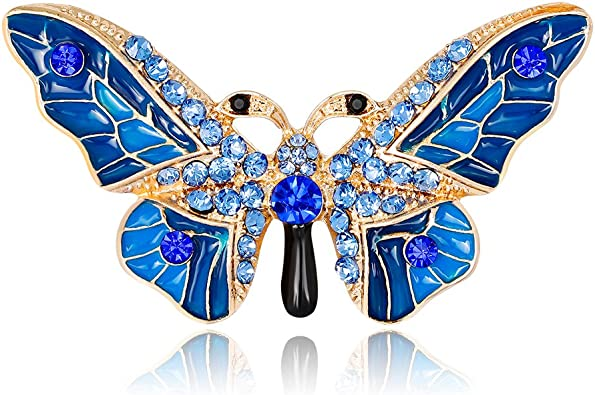 EmmaGreen Butterfly Brooch Pin Enamel Crystal Vintage Antique Animal Corsages Scarf Clips Brooches
