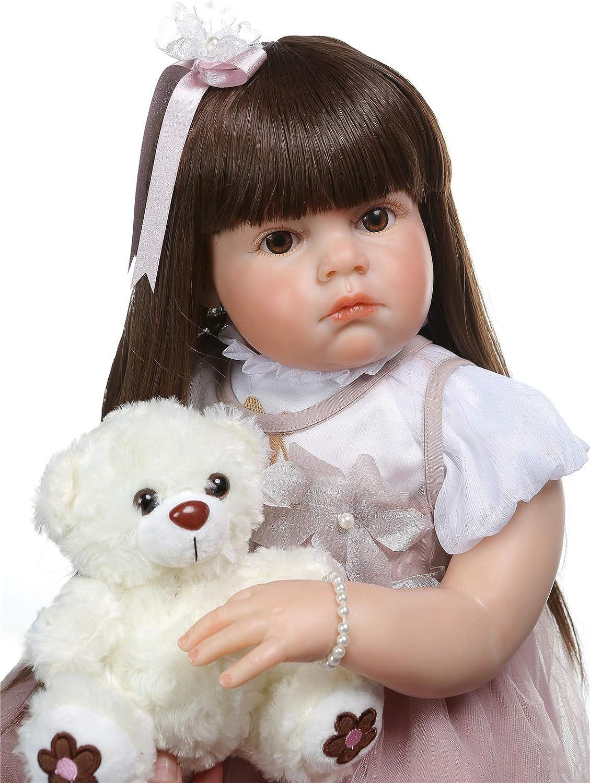 "Reborn Baby Girl Dolls 28/"" Soft Silicone Reborn Toddler Dolls Long Blonde Hair"