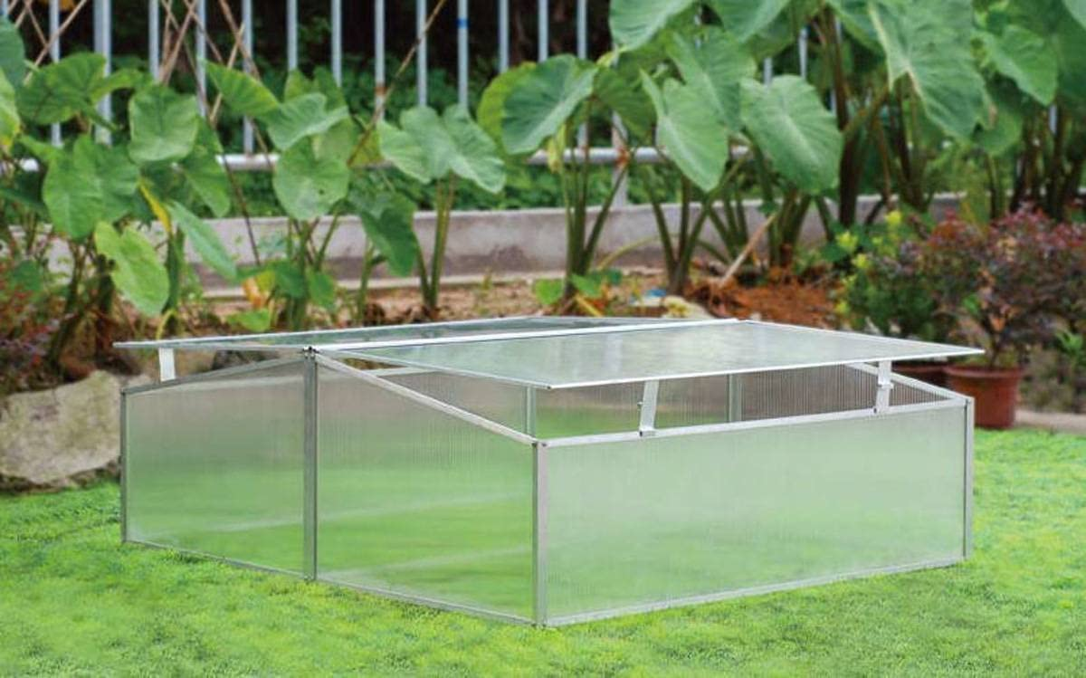 Zenport SH7005-2-ZD Double-Wide Folding Aluminum Cold Frame Greenhouse, 3.3 x 3.3 x 1.3-Feet, Green