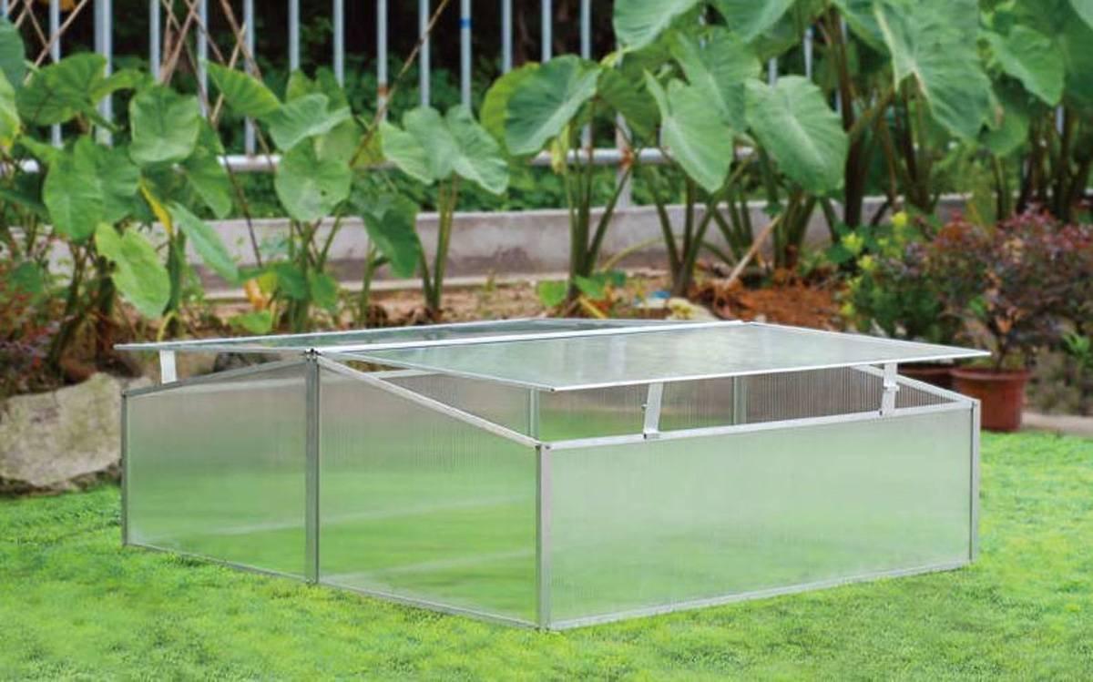 Zenport SH7005-2-ZD Double-Wide Folding Aluminum Cold Frame Greenhouse, 3.3 x 3.3 x 1.3-Feet by Zenport (Image #1)