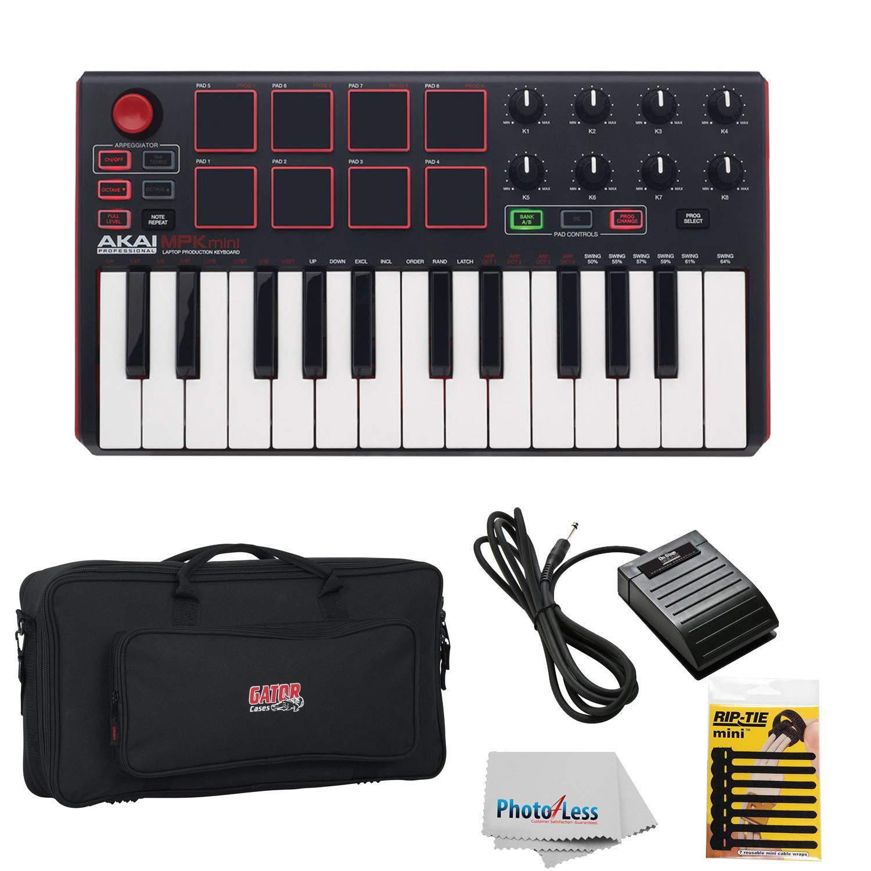 Akai Professional MPK MINI MK2 MKII | 25-Key Ultra-Portable USB MIDI Drum Pad & Keyboard Controller (Red/Black) + Gator GK2110 Gig Bag + Sustain Pedal + Cable Ties + Clean Cloth by Akai
