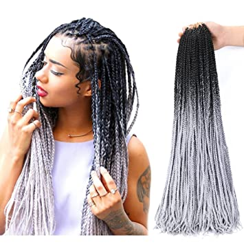 amazon com box braids crochet braids 24inches 4pieces ombre color