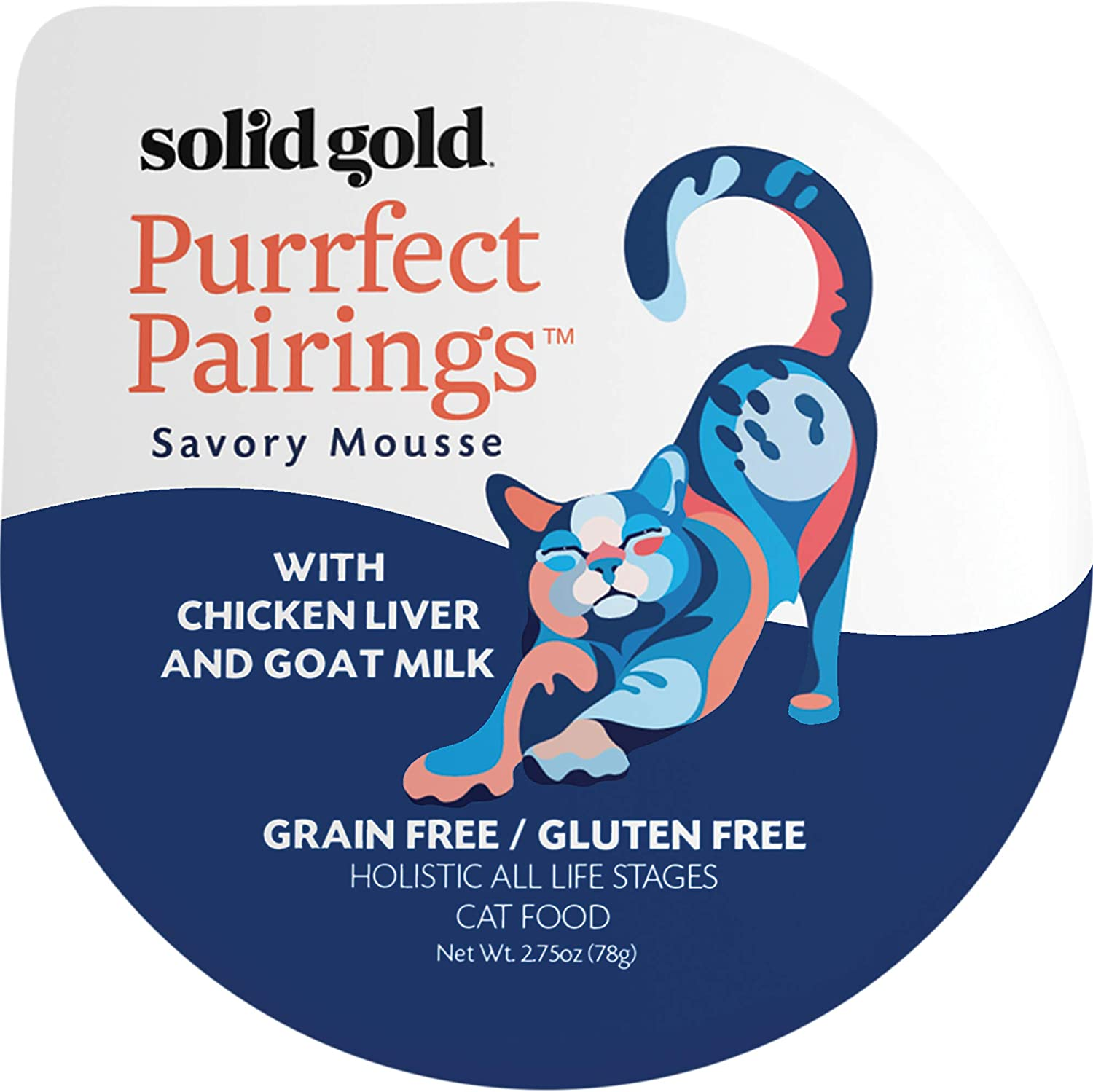 Solid Gold Goat Milk Mousse Pate Wet Cat Food; Purrfect Pairings With Chicken Liver, 18Ct/2.75Oz Cup