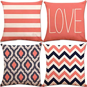 ZUEXT Love Theme Navy Coral Stripes Throw Pillow Covers 18x18 Inch 2 Side Print, Set of 4 Cotton Linen Square Pillowcases for Car Couch Home Decor (Navy Retro Coral Stripes Zigzag)