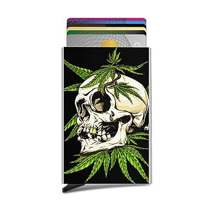 Funda para tarjeta RFID, diseño de calavera, marihuana ...